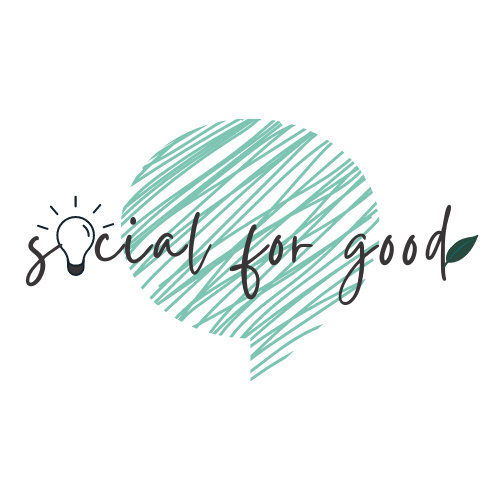 social for good logo with talk bubble lightbulb and leaf